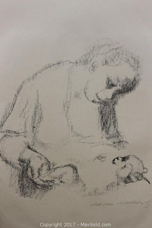 Kathe Kollwitz (1877-1945), Junge Mutter mit Saugling (Young Mother with Infant), Signed Crayon Litho on Japan Paper