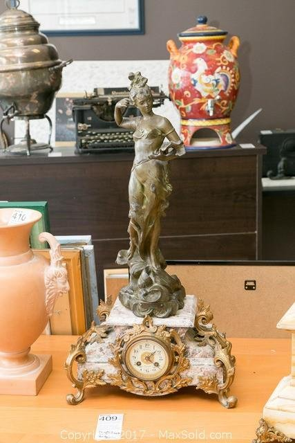 Rouzier Montlucon Clock With Figurine