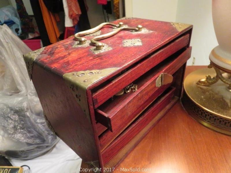 Vintage Jewelry Box And Vintage Jewelry