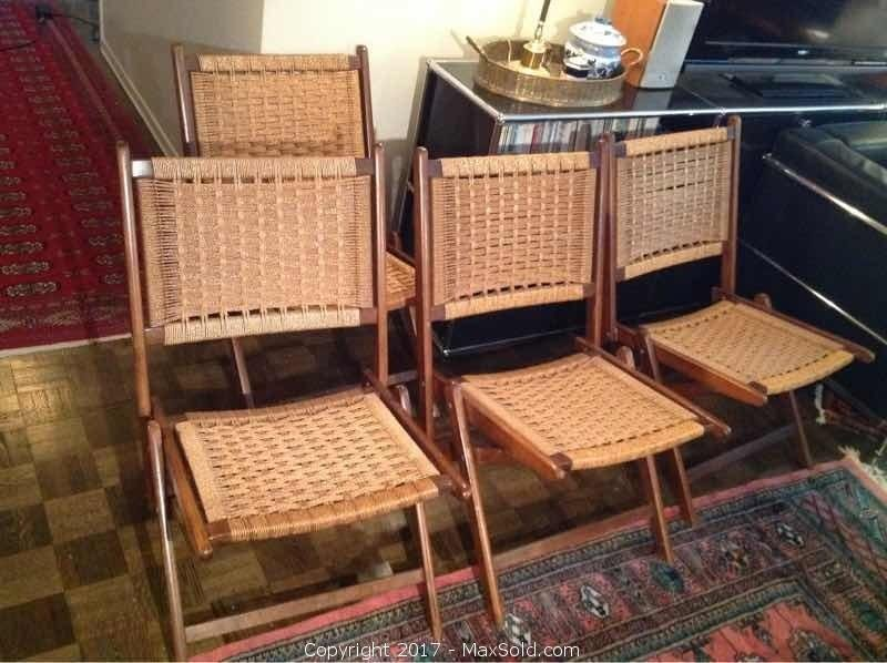 Set Of Four Folding Weave Chairs