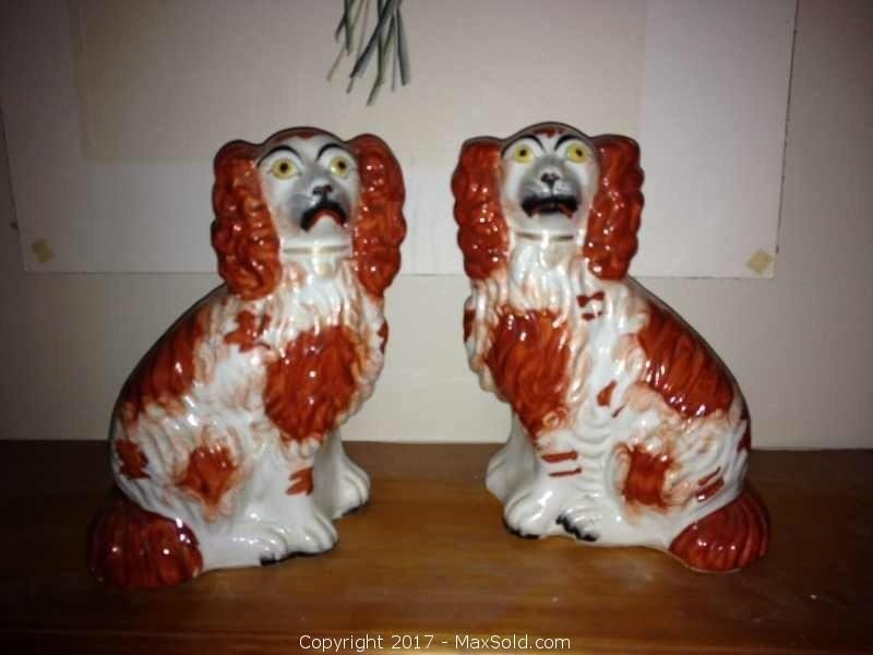 Vintage Twin English Dog Statues