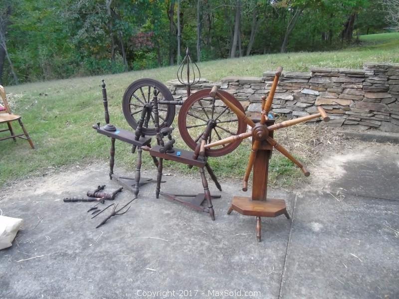 Spinning Wheels and 1 Yarn Winder