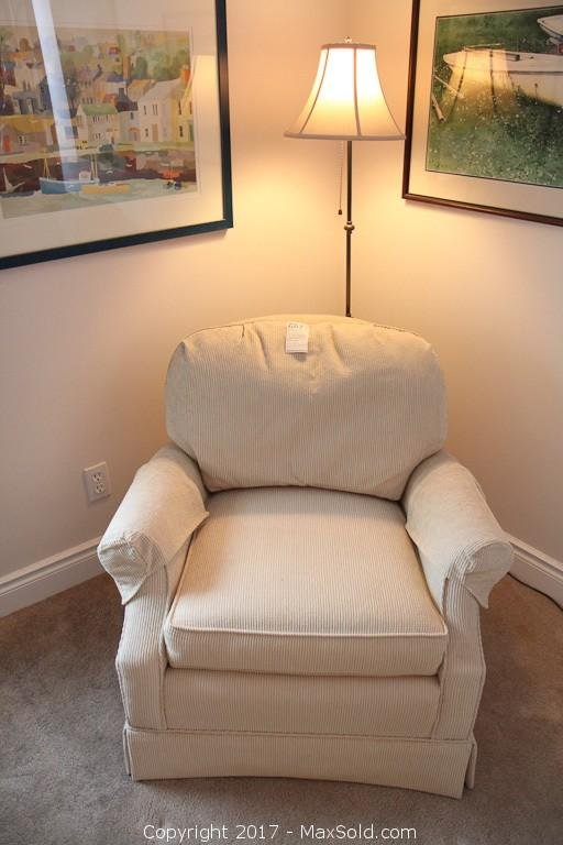 Barrymore Armchair and Metal Floor Lamp. C