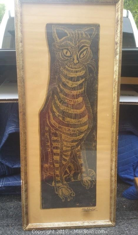Original Cat Woodblock by Listed artist