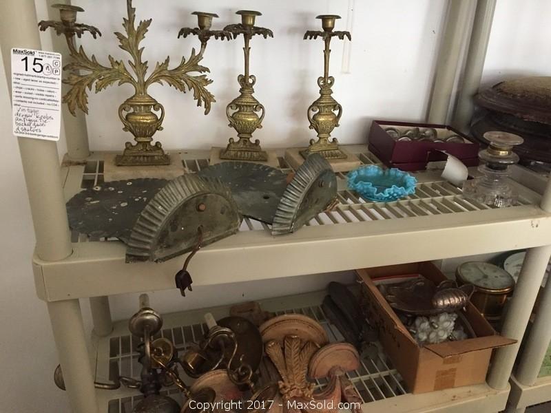 Brass And Tin Sconces, Milk Glass Pullacks