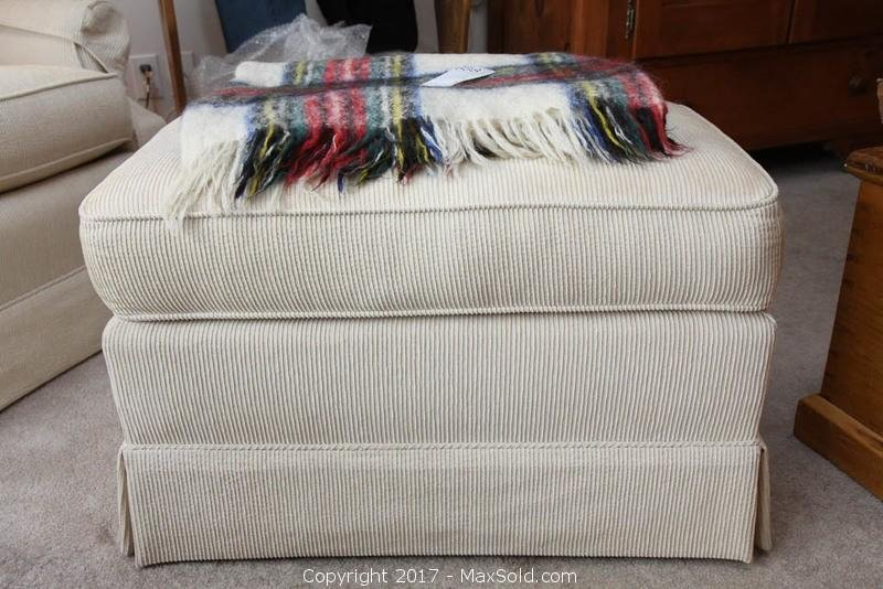 Barrymore Ottoman with Hudson's Bay Throw. B