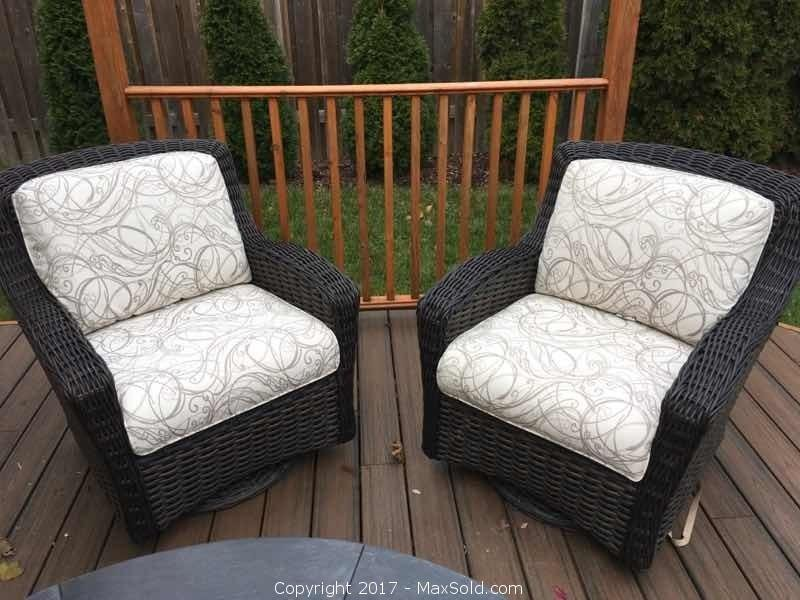Pair Of Ebel Swivel Glide Outdoor Chairs